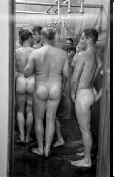 The showers were so busy and crowded no one noticed Zach washing his ass…knuckle deep!