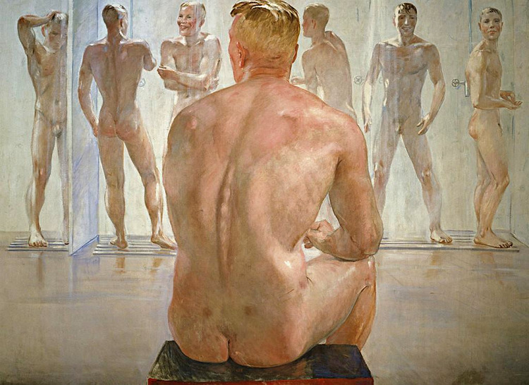 Men waiting in line for a shower  was been gone for decades. So has people watching!
