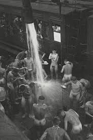 Vintage Open Shower photos from when testosterone was high and men yearned for what they wanted!